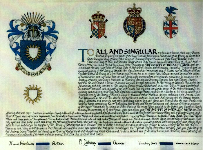Letters Patent of the Arms of the Society of Heraldic Arts