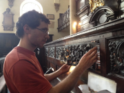 Installing a repair at St Mary Abchurch, London